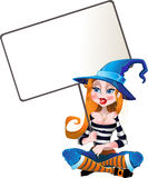 Witch with cleavage and hold in her hands big whit. Vector witch with cleavage and hold in her hands big white text area Royalty Free Stock Photos