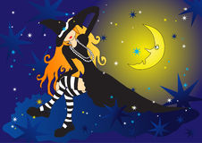 Witch on cloud Royalty Free Stock Photography