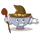 Witch colander utensil character cartoon Royalty Free Stock Images