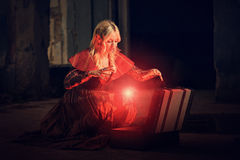 Witch conjuring a spell Stock Photos