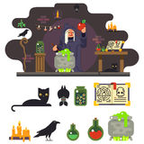 Witch cook magical sweet apple laboratory icons Royalty Free Stock Image