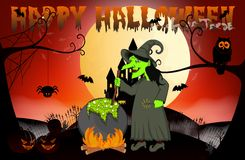 Witch cooking, Castle And Full Moon Vector Illustration for Happy Halloween Stock Photography