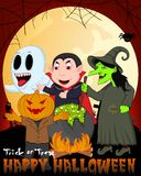 Witch Cooking, Dracula, Mr. Pumpkin And Ghost Under Full Moon Vector Illustration For Happy Halloween Royalty Free Stock Photos