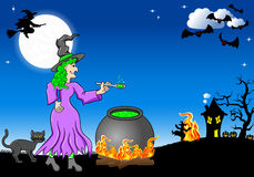 Witch cooking a magic potion in the cauldron Stock Photos