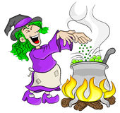 Witch cooking a magic potion in the cauldron Royalty Free Stock Photos