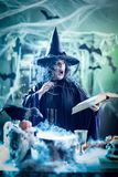Witch Is Cooking Magic Potion Stock Images