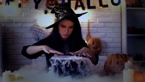 Witch cooking magical potion in cauldron, bubbling with white smoke, witchcraft. Stock photo royalty free stock photography