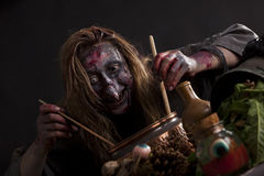 Witch cooks in the witchs kitchen Stock Photo