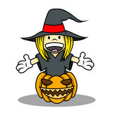 Witch Costume for Halloween. Cute girl wearing witch costume is welcoming for halloween from inside of the creepy pumpkin Stock Photos