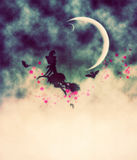 Witch and Crescent Moon Stock Images