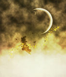 Witch and Crescent Moon Royalty Free Stock Photo