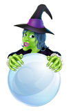 Witch and crystal ball vector illustration