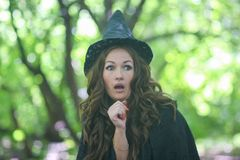 Witch cute surprise. fright. Concept. Halloween Holiday stock images