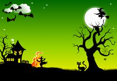Witch dancing around fire at halloween. Vector illustration of a witch dancing around the fire at halloween Royalty Free Stock Photo
