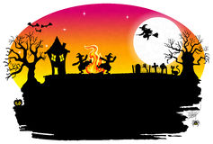 Witch dancing around fire at halloween. Vector illustration of a witch dancing around the fire at halloween Stock Image