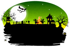 Witch dancing around fire at halloween. Vector illustration of a witch dancing around the fire at halloween Stock Images