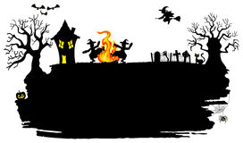 Witch dancing around fire at halloween. Vector illustration of a witch dancing around the fire at halloween Royalty Free Stock Images