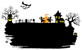 Witch dancing around fire at halloween. Vector illustration of a witch dancing around the fire at halloween Royalty Free Stock Photography