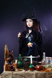 Witch on a dark background royalty free stock image