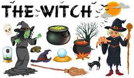 Witch and dark magic objects Royalty Free Stock Images