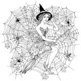 Witch with design cobwebs Royalty Free Stock Photo