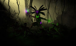 Witch Doctor. High resolution highly detailed 3d illustration of a witch doctor summoning undead zombies and casting poison insect spell Royalty Free Stock Images