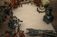 Witch doctor. Shaman. Witchcraft. Magic table. Alternative medicine. stock images