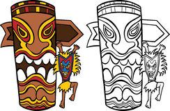 Witch Doctor with Totem Pole. Cartoon image of a witch doctor dancing at a totem pole - both color and black / white versions Stock Image
