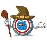 Witch Dragonchain coin mascot cartoon. Vector illustration Stock Photo