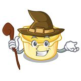Witch egg tart mascot cartoon. Vector illustration Royalty Free Stock Image