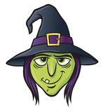 Witch Face. Cartoon illustration of a witch's face Royalty Free Stock Photos