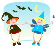 Witch and fairy Stock Photography