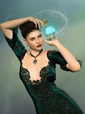 Witch. Fantasy witch in the sky with poison Royalty Free Stock Photo