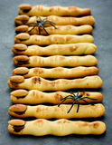 Witch finger shortbread cookies with chocolate and almonds, funn Stock Images