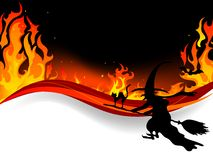 Witch in fire. Halloween witch fly in flames Royalty Free Stock Image