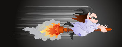 Witch on Fire Broomstick. Creative Abstract Conceptual Design Art of Witch on Fire Broomstick Vector Illustration stock illustration