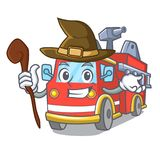Witch fire truck mascot cartoon. Vector illustration Stock Photography