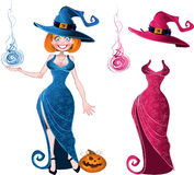Witch with fireball in blue dress and pink batch Royalty Free Stock Photography