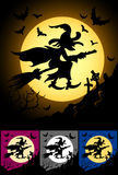 Witch Flaying On Broom At Halloween Night Stock Images