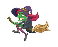 Witch flies on her broom Royalty Free Stock Photo