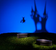 Witch flies home to her castle Royalty Free Stock Photos