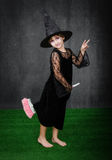 Witch with flight broom Royalty Free Stock Photos