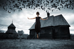 Witch floating in the air. Royalty Free Stock Photos