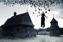 Witch floating in the air. Royalty Free Stock Images
