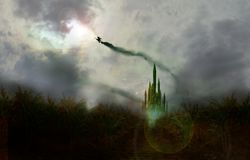 Witch flybye. Witch flying across yellow brick road and around emerald city Stock Images