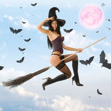 Witch flying Royalty Free Stock Images