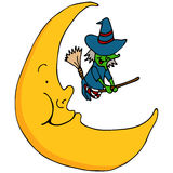 Witch Flying Across The Moon. An image of a witch flying across the moon Royalty Free Stock Photos