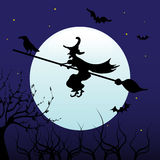 Witch flying on a broom stock photos