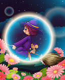 A witch flying on broom Stock Photography