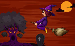 Witch flying on broom Stock Image